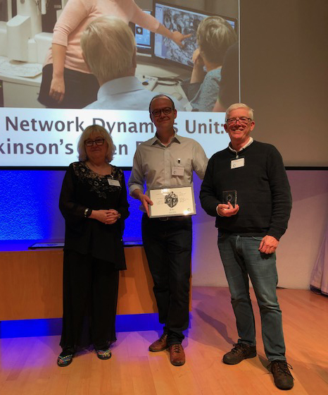 Professor Tilli Tansey (left) presenting, on behalf of Understanding Animal Research, Professor Peter Magill (centre) and Professor Paul Bolam (right) with the 2018 Openness Award in Public Engagement Activity.