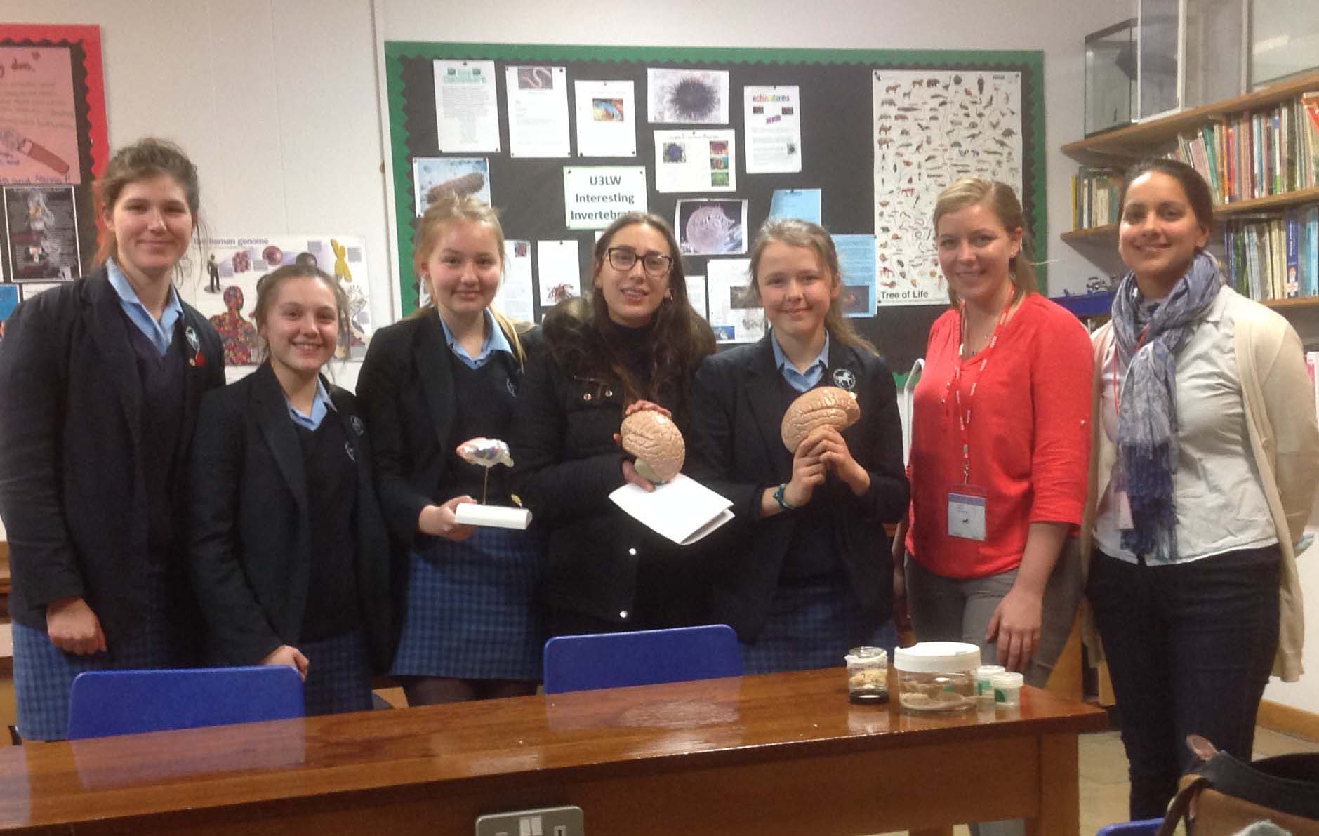 Natalie Doig and Emilie Syed with pupils at the Headington School Biology Club.