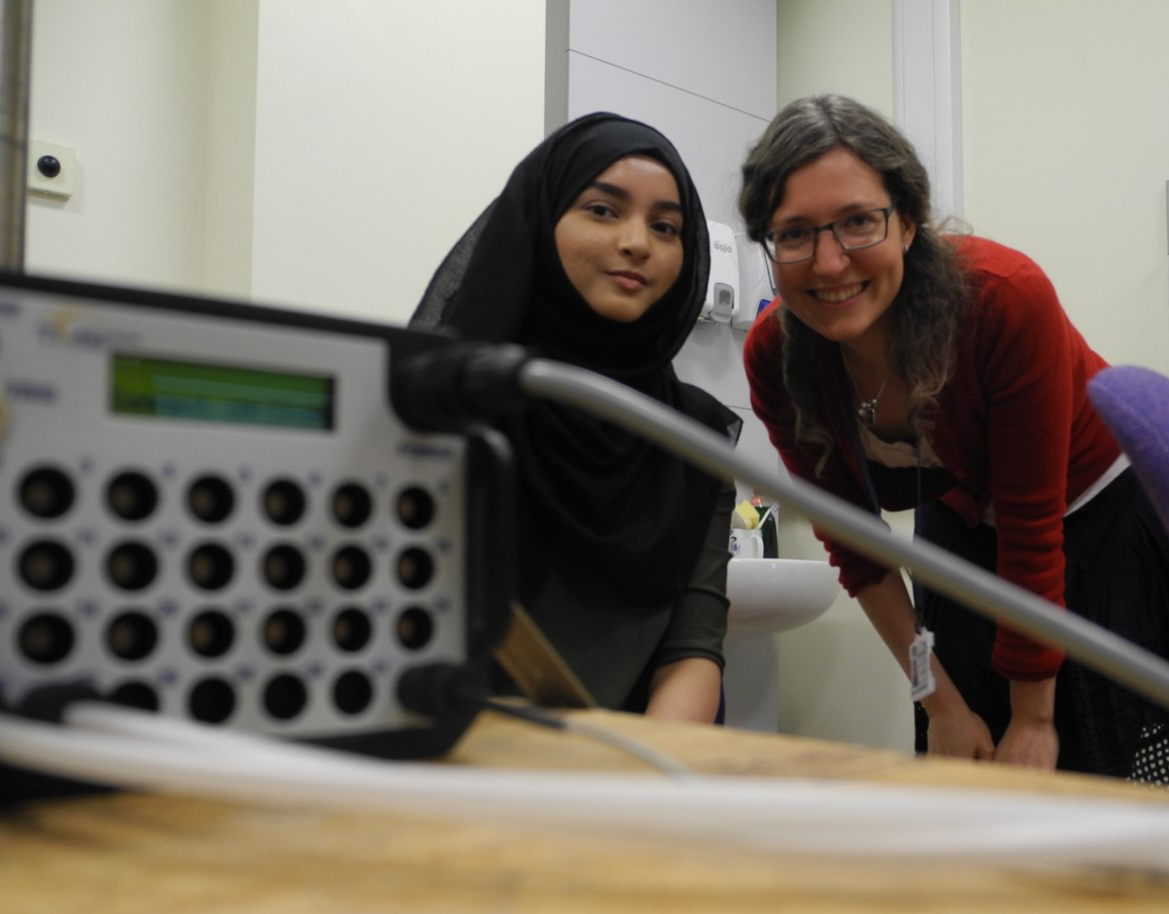 In2scienceUK placement student Shakera, with her mentor, Unit scientist Petra Fischer.