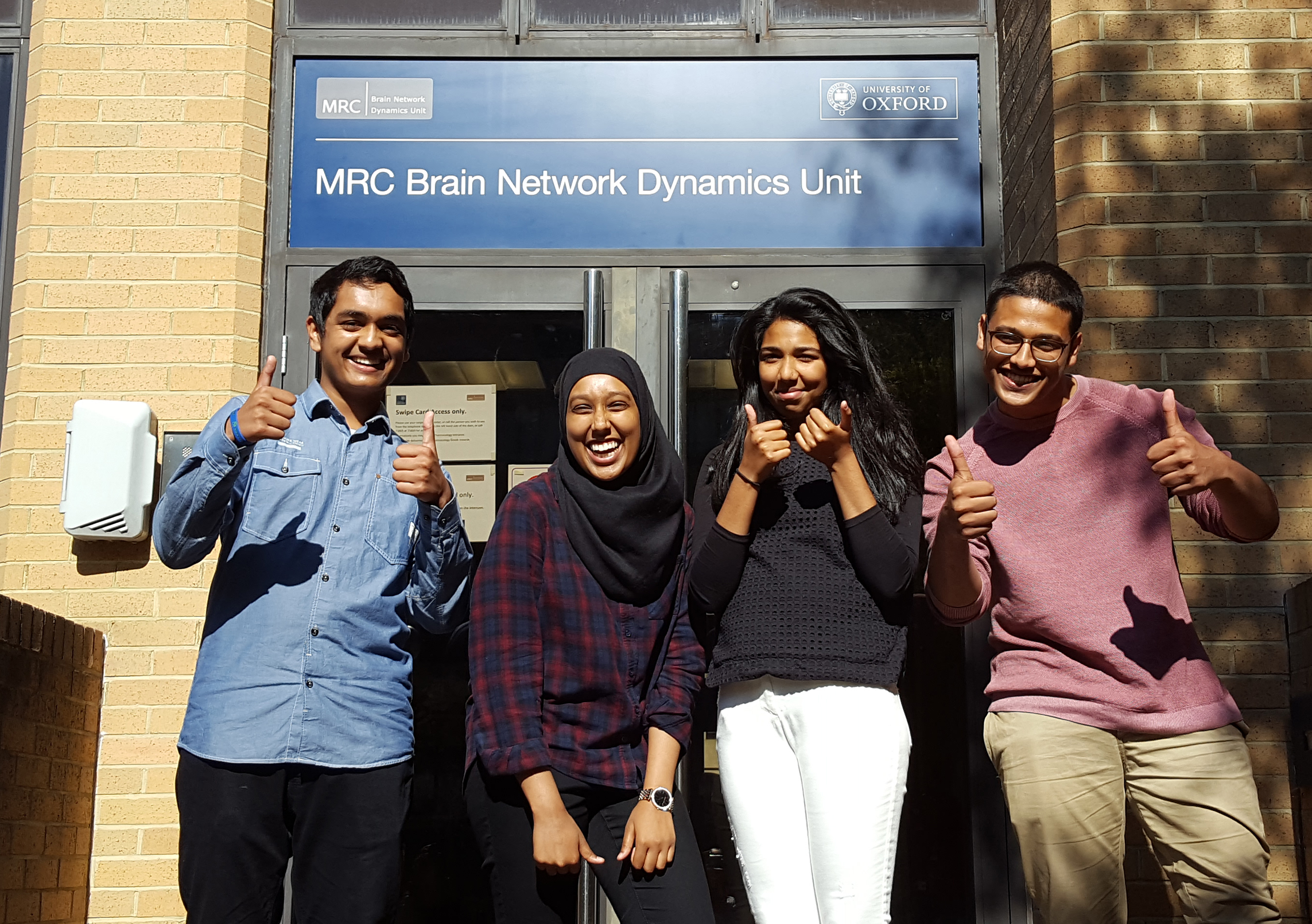 Happy in2scienceUK students at the end of their work-experience placements at the MRC BNDU.