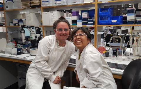 Happy in2scienceUK students Chloe and Kim at the end of their work-experience placements at the MRC BNDU.