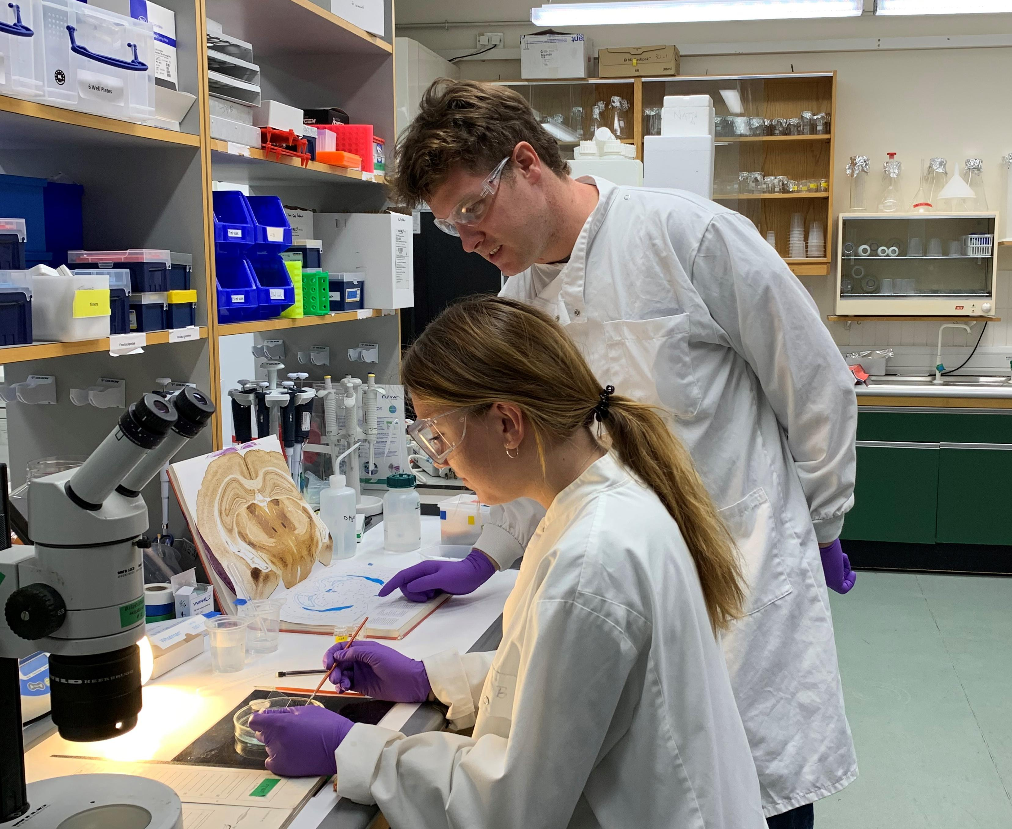 Photo of Liepa and David in the lab