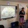 Unit scientist Petra in action at Larkrise Primary School, June 2018